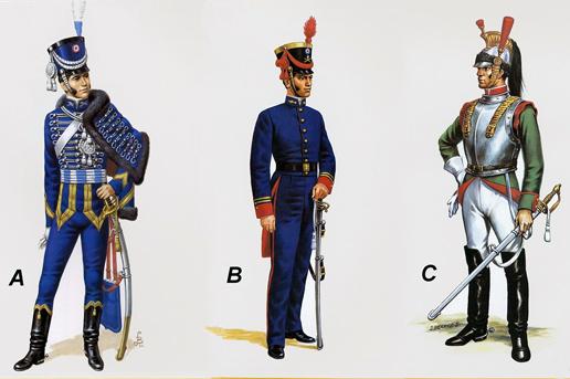 A: Officier, Régiment de Hussar de la Grande Garde, ca. 1812;  B: Officier, Artillerie à pied, 1827; C:  Troupe, Escadron de Cuirassiers, 1827 (dessin J. Berrios S.)